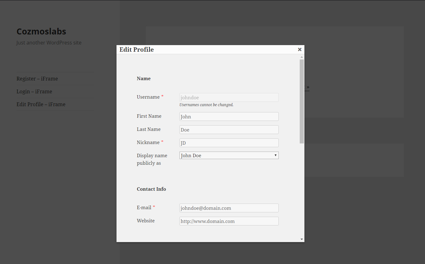 Profile Builder Pro - Custom Profile Menus - Edit Profile iFrame in Front End