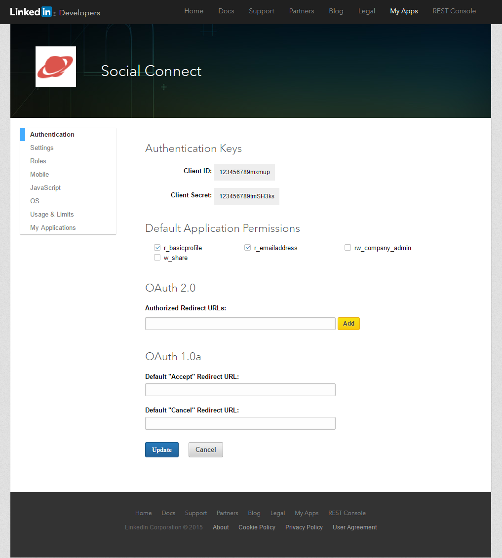 Profile Builder Pro - Social Connect - LinkedIn Apps - Default Application Permissions