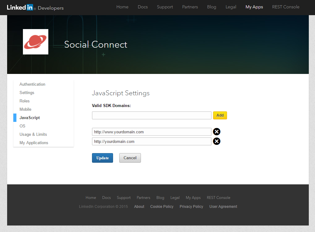 Profile Builder Pro - Social Connect - LinkedIn Apps - JaveScript Settings