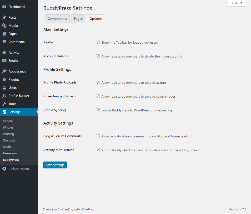 Profile Builder Pro - BuddyPress - BuddyPress Settings - Toolbar option
