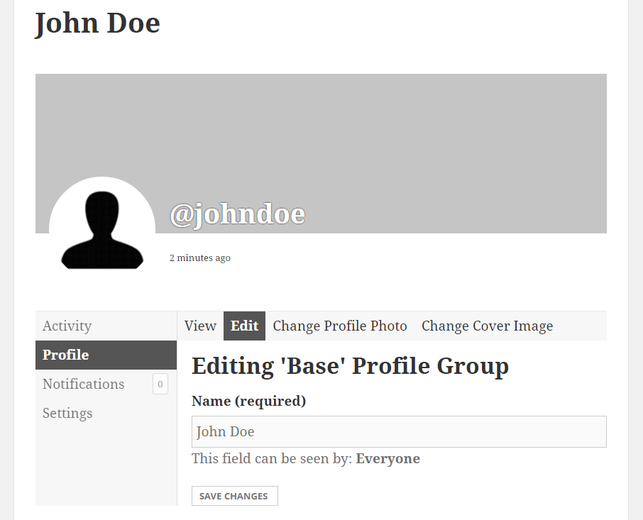Profile Builder Pro - BuddyPress - Default BuddyPress Edit Profile Form