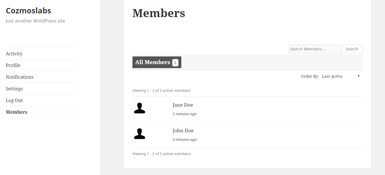 Profile Builder Pro - BuddyPress - Default BuddyPress Members Listing