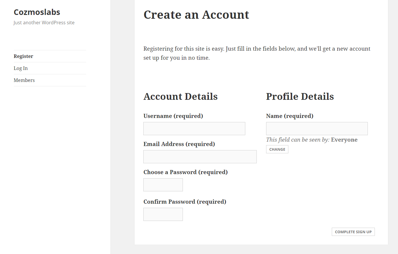 Profile Builder Pro - BuddyPress - Default BuddyPress Registration Form