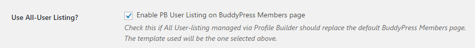 Profile Builder Pro - BuddyPress - Enabeling the All-Userlisting Template
