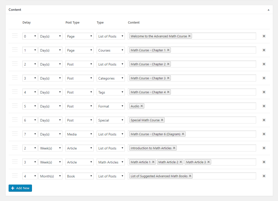 Paid Member Subscriptions Pro - Content Dripping - Scheduling Settings