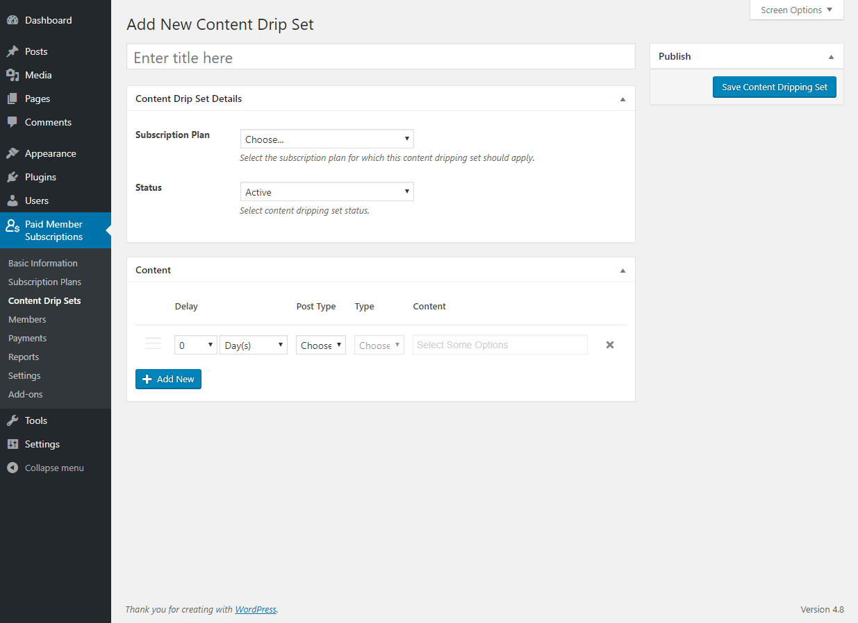Paid Member Subscriptions Pro - Content Dripping - Settings