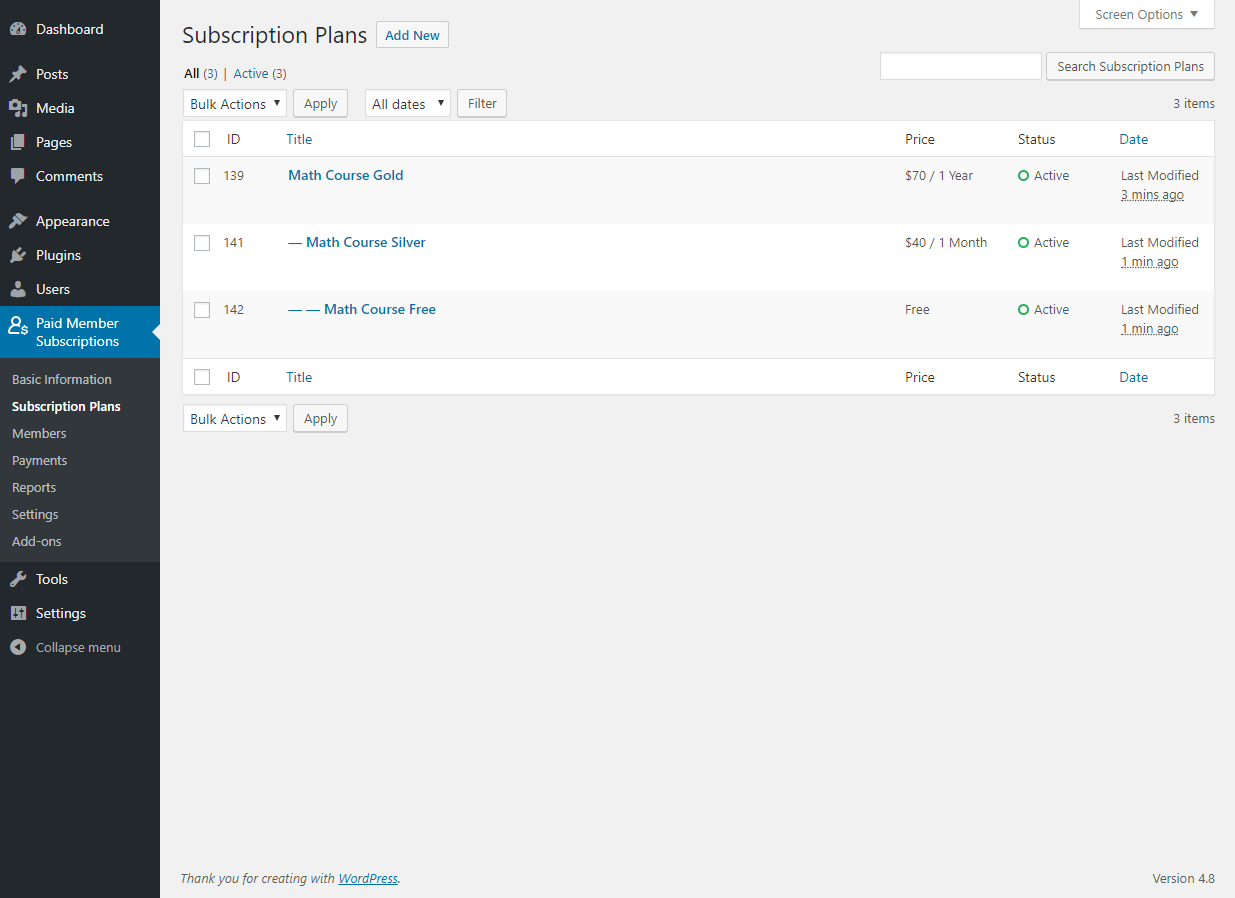 Paid Member Subscriptions Pro - Multiple Subscriptions Per User - Adding Upgrade - Downgrade Subscription Plan