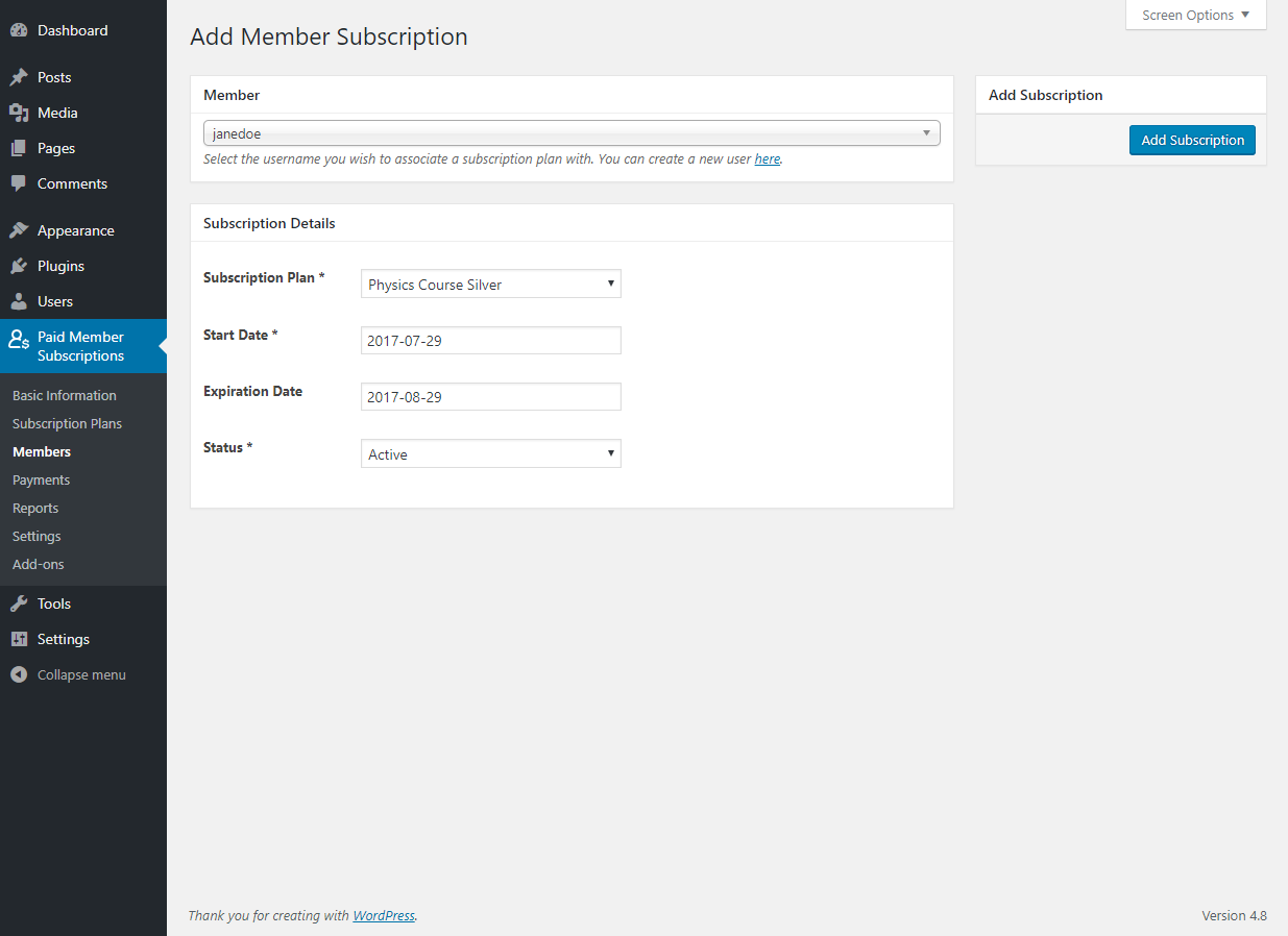 Paid Member Subscriptions Pro - Multiple Subscriptions Per User - Adding a Member