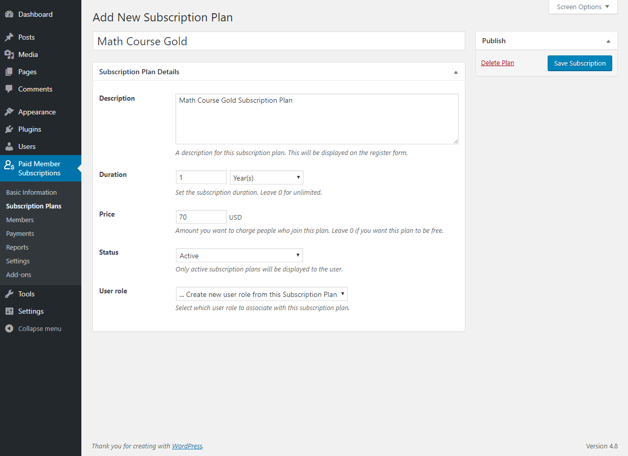 Paid Member Subscriptions Pro - Multiple Subscriptions Per User - Adding a Subscription Plan