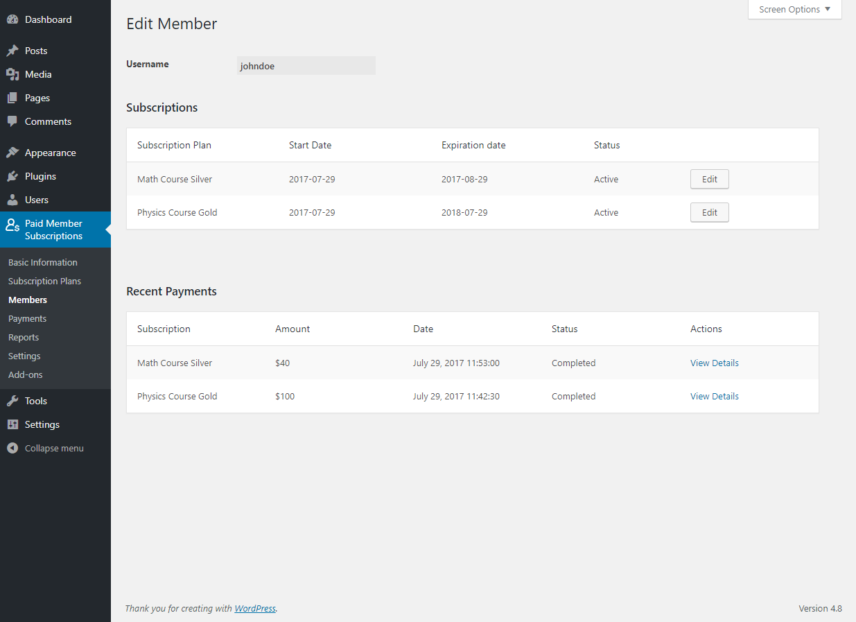 Paid Member Subscriptions Pro - Multiple Subscriptions Per User - Editing a member