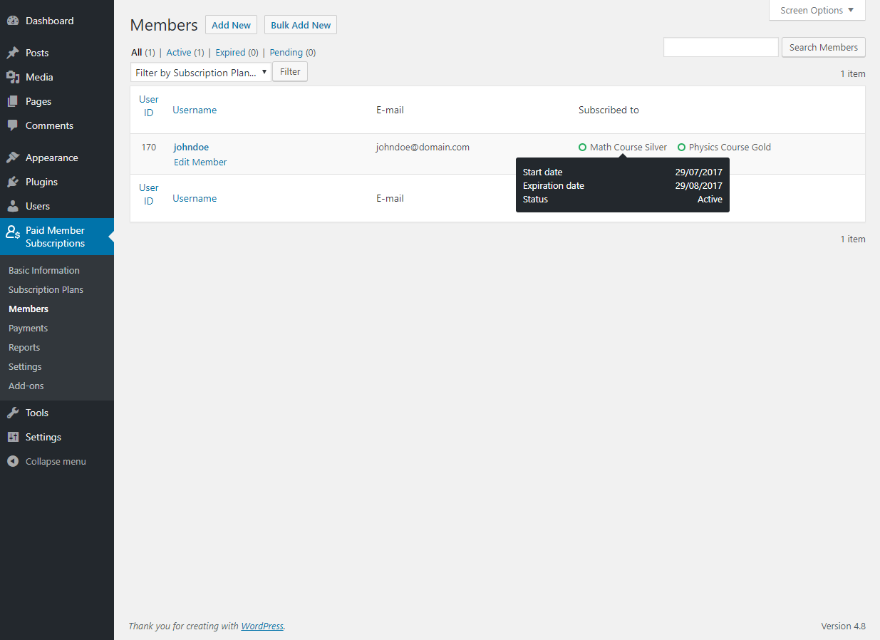 Paid Member Subscriptions Pro - Multiple Subscriptions Per User - Members