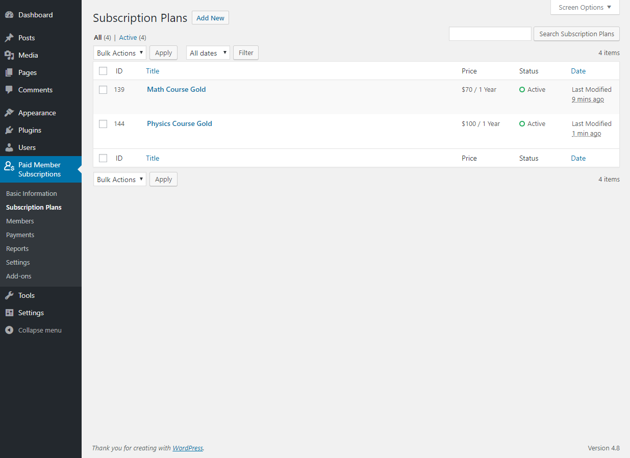 Paid Member Subscriptions Pro - Multiple Subscriptions Per User - Subscription Plans Groups
