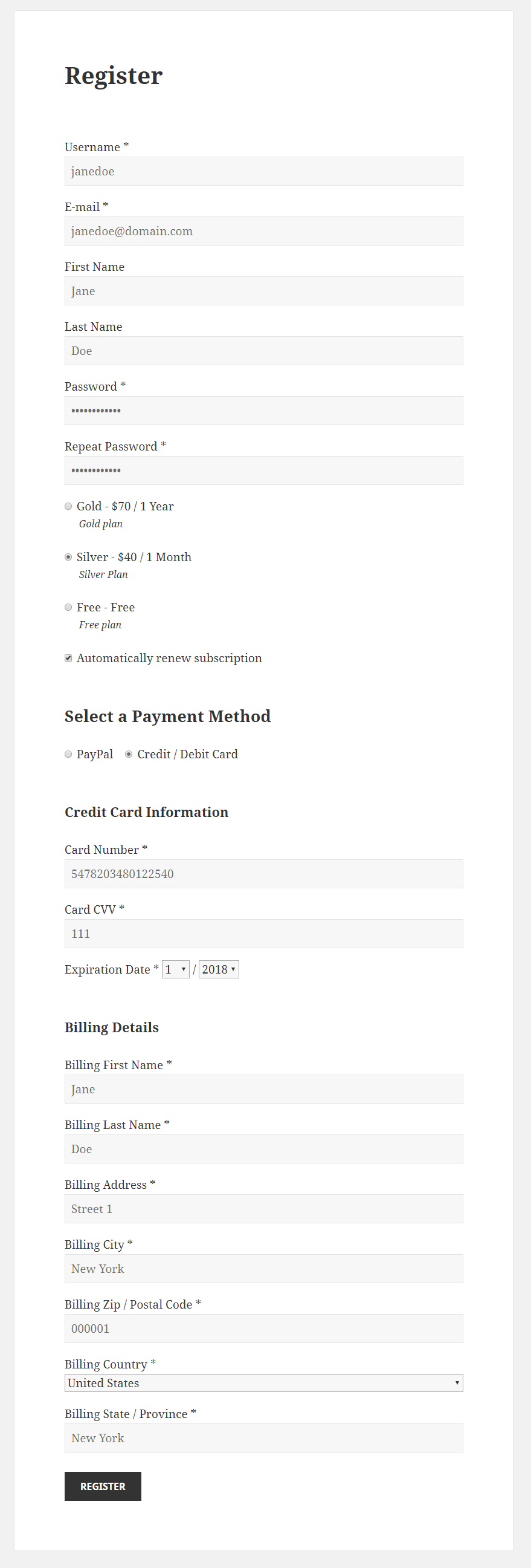 Paid Member Subscriptions Pro - PayPal Pro and PayPal Express Checkout - Registration PayPal Pro Recurring Payment