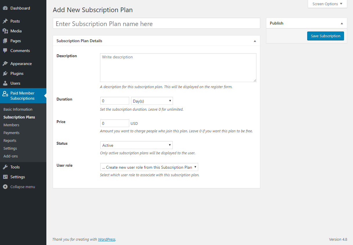 Paid Member Subscriptions - Subscription Plans - Add New