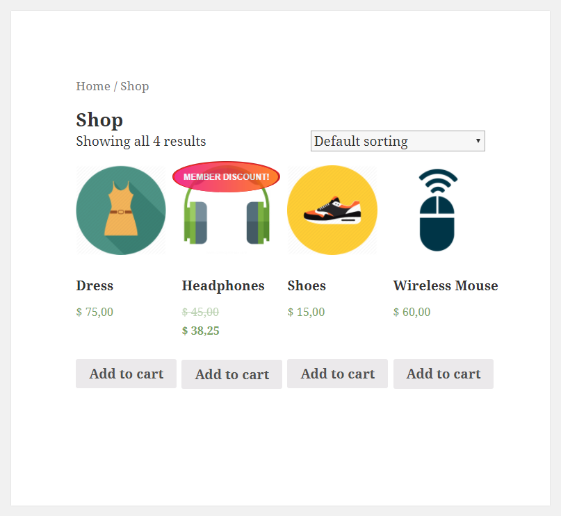 Paid Member Subscriptions - WooCommerce - Membership Discounts - Product - Shop page