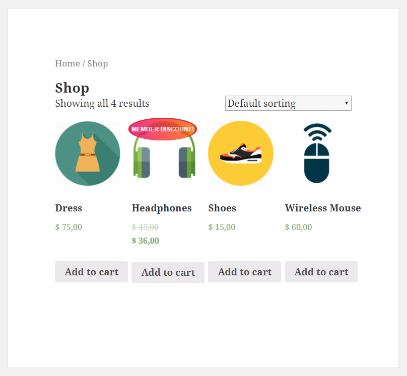 Paid Member Subscriptions - WooCommerce - Product on sale and on discount - Shop page