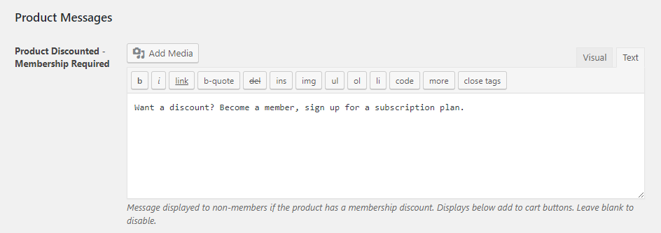 Paid Member Subscriptions - WooCommerce - WooCommerce Integration - Settings - Product Messages