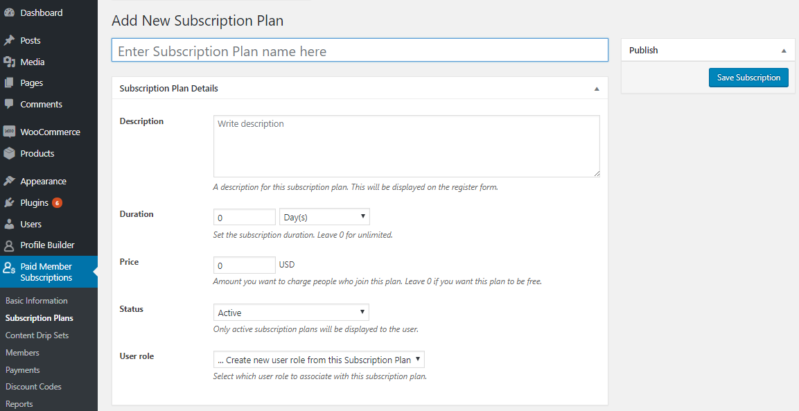 Add a new subscription plan