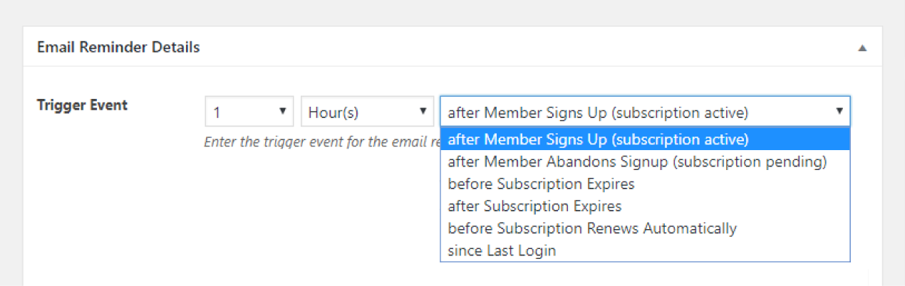 Paid Member Subscriptions Pro - Email Reminders - Trigger Event