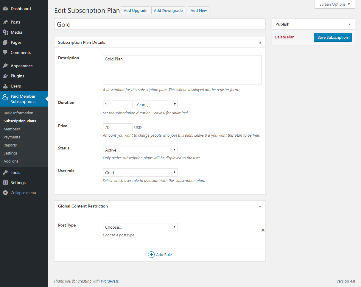 Paid Member Subscriptions Pro - Global Content Restriction - Settings