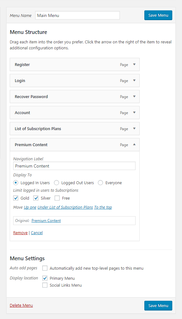 Paid Member Subscriptions Pro - Navigation Menu Filtering - Restricting Premium Content Menu Item