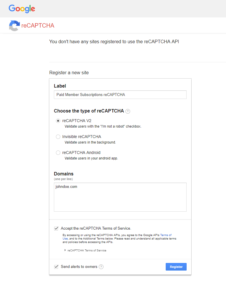 Paid Member Subscriptions - reCAPTCHA - Register Site