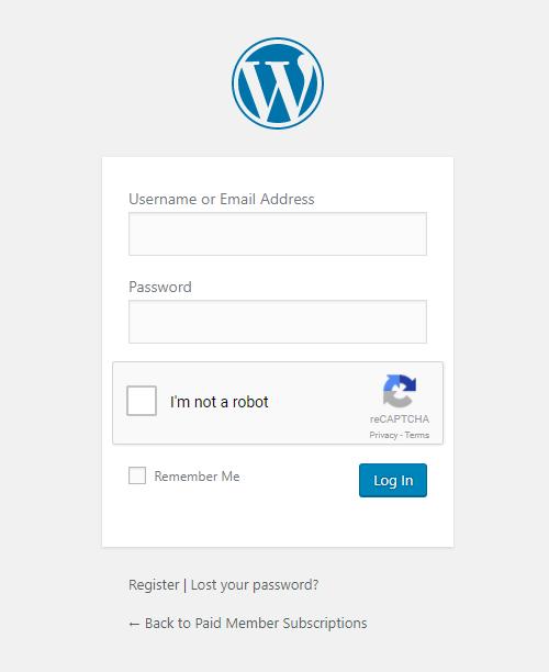 Paid Member Subscriptions - reCaptcha - Default Login Form