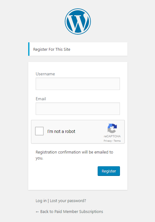 Paid Member Subscriptions - reCaptcha - Default Registration Form