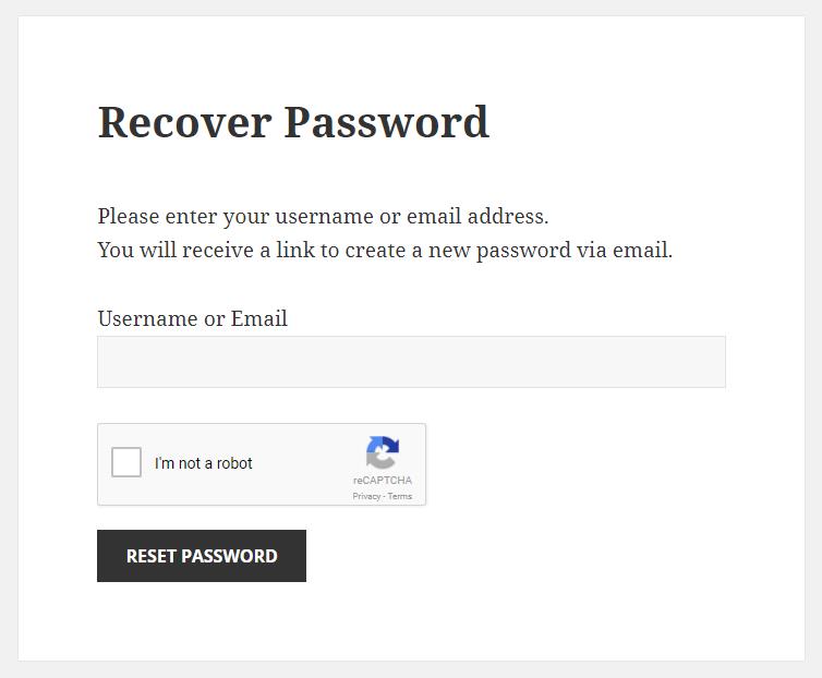 Paid Member Subscriptions - reCaptcha - Recover Password Form