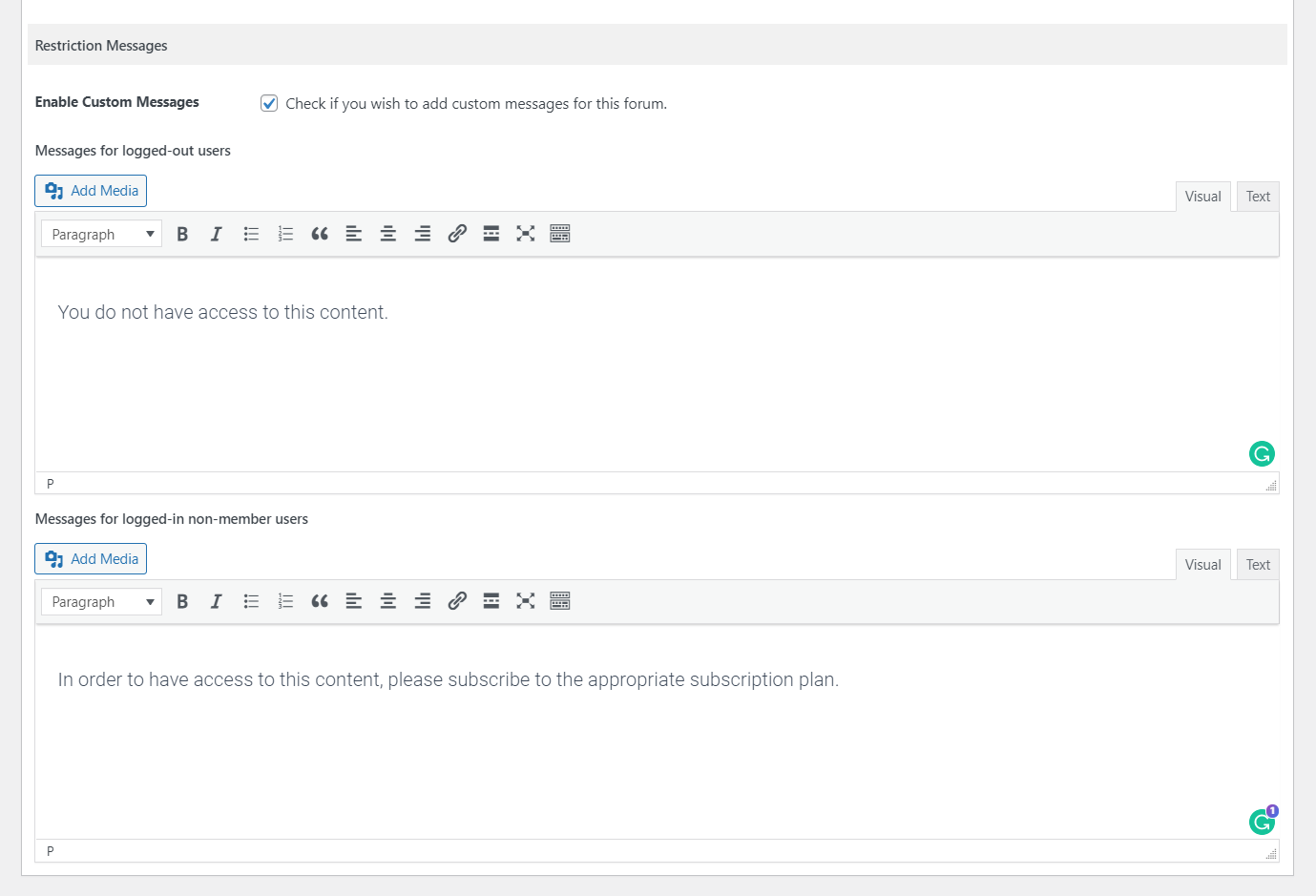 Custom restriction messages for specific forums