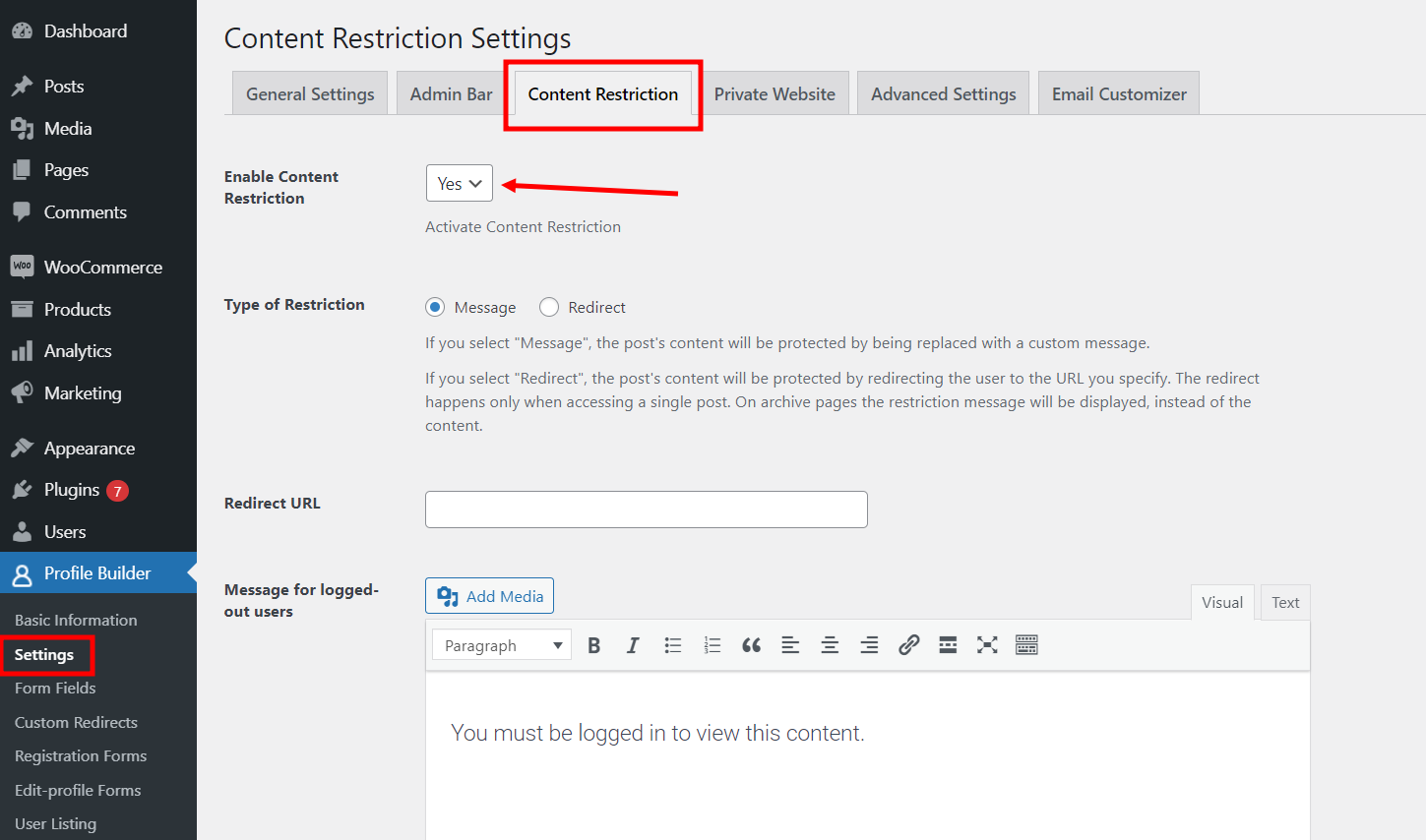 Enabling content restrictions