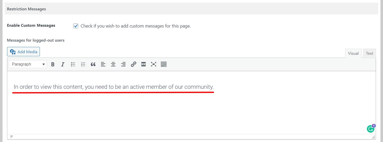 Customizing restriction message