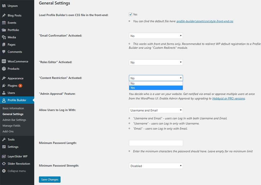 Enable WordPress Restrict Page Access to Logged In Users functionality