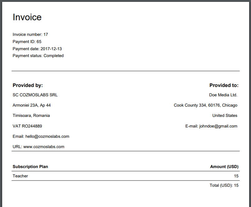 Generate PDF Invoices for Membership Payments - Cozmoslabs