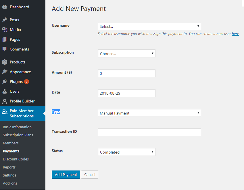 Add Payments Manually in Paid Member Subscriptions