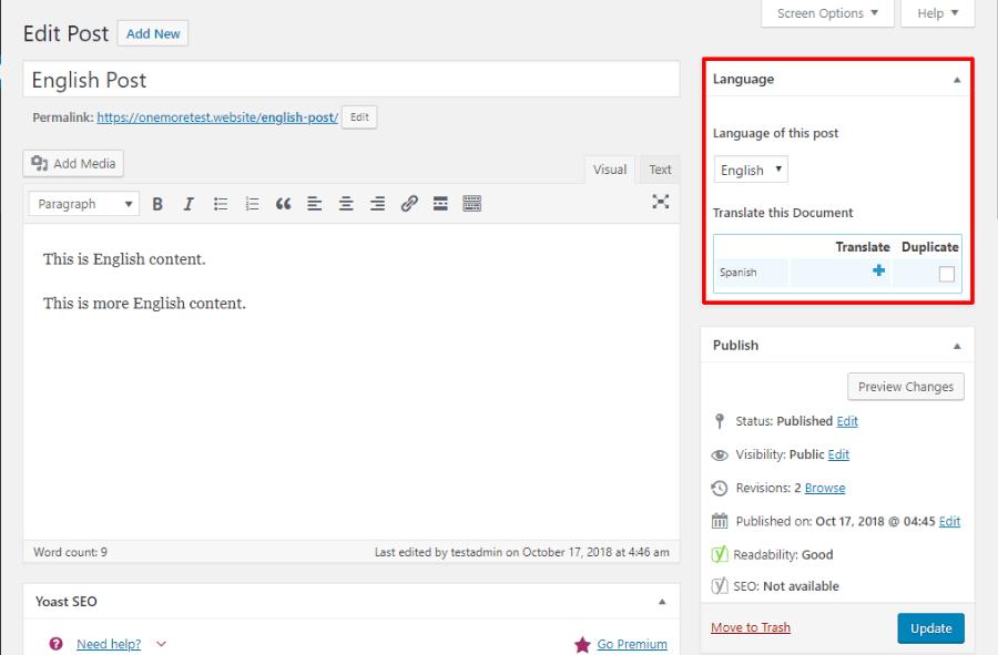 WPML translate content