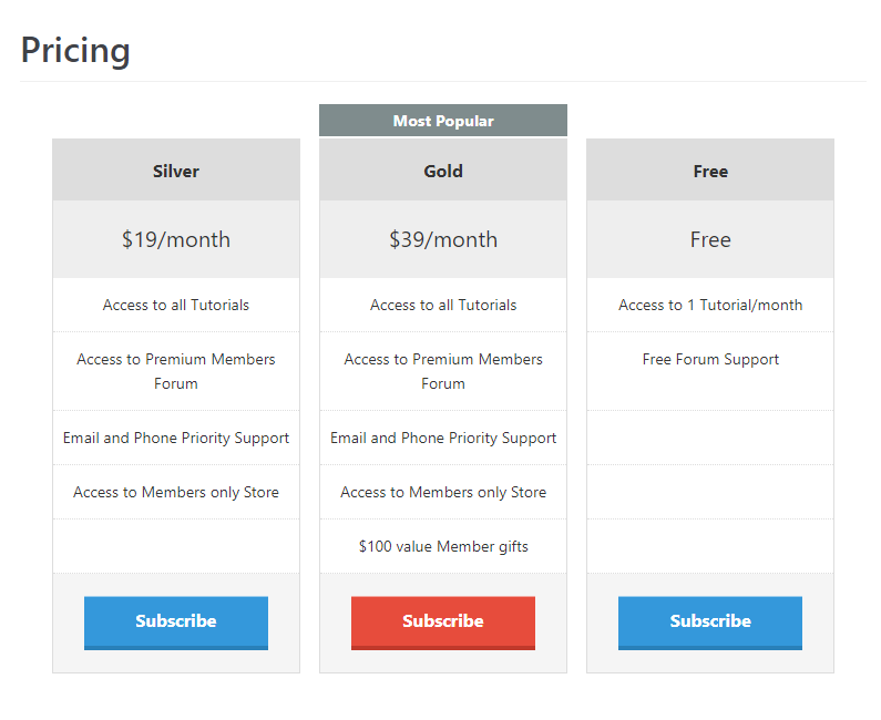 Membership Pricing Table