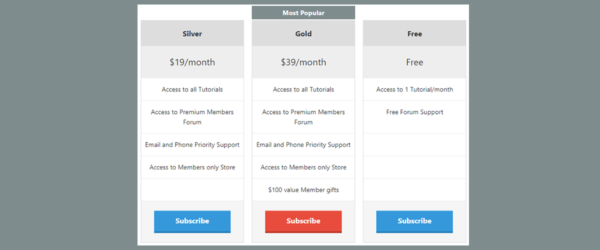 Membership Pricing Table featured image