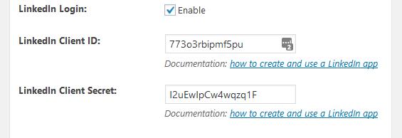 Profile Builder Pro - Social Connect - Application Settings - LinkedIn App