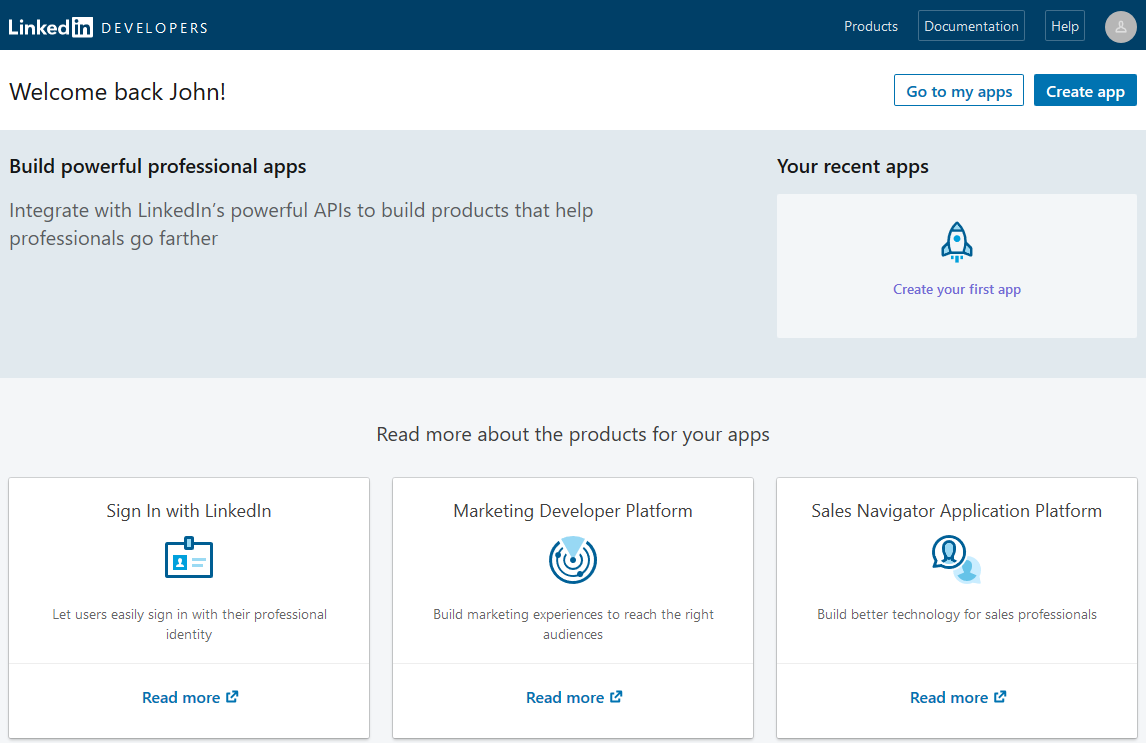Profile Builder Pro - Social Connect - LinkedIn Apps - Create Application