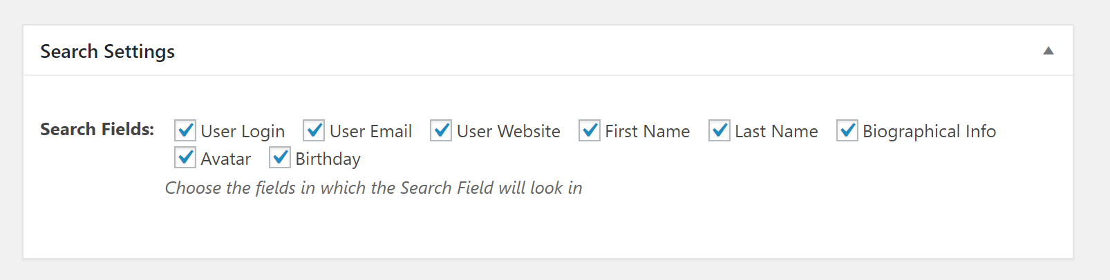 profile builder search field