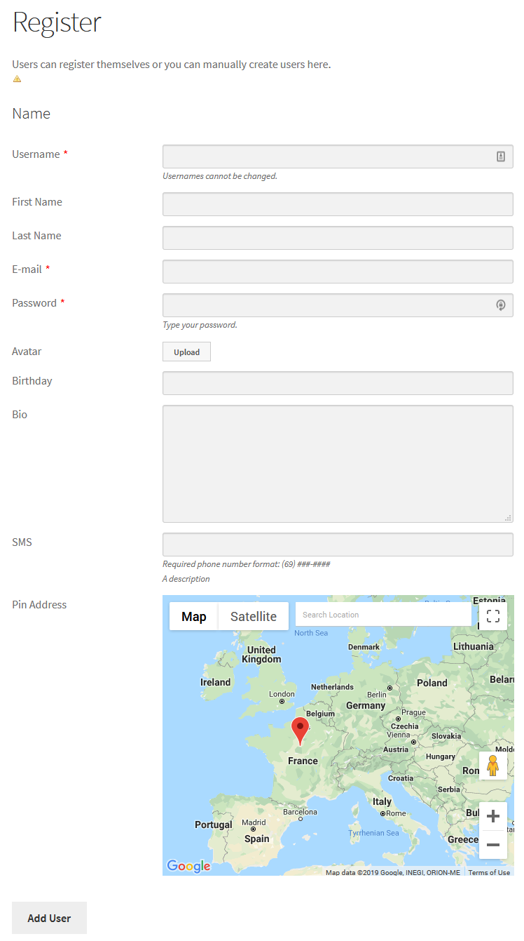 add users on map with WordPress