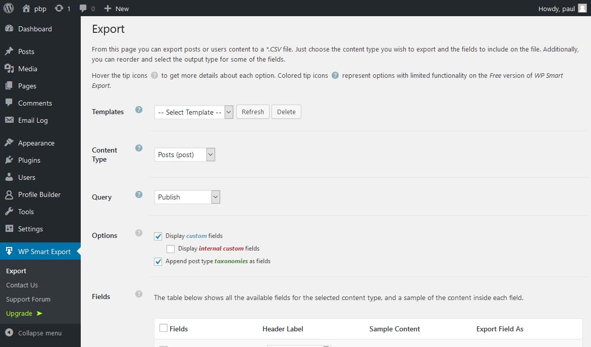 Profile Builder - Export User Data