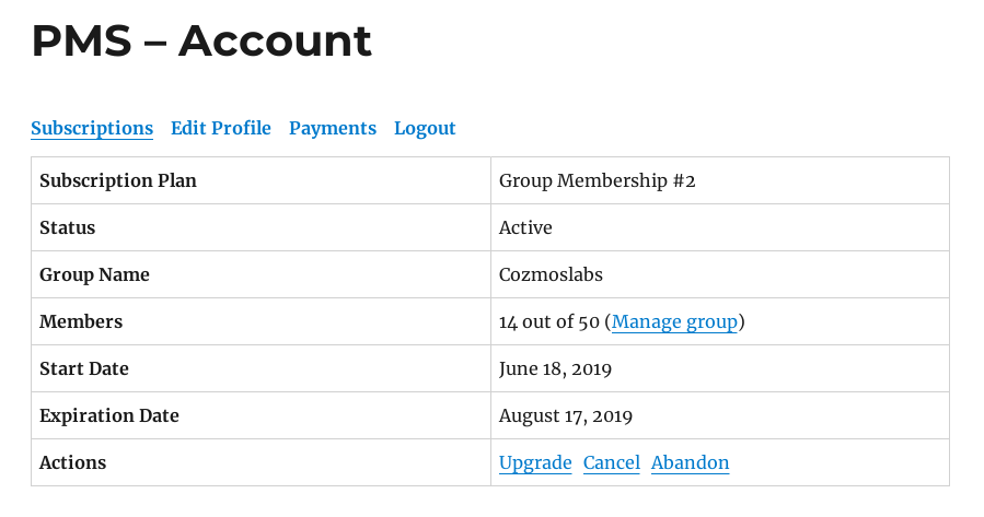 Dashboard of Group Membership Owner
