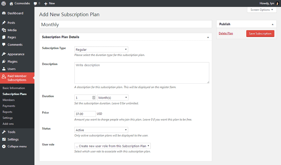 Add Group Membership Plan in Paid Member Subscriptions
