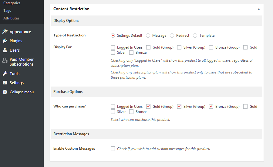 Paid Member Subscriptions - Content Restriction Selection