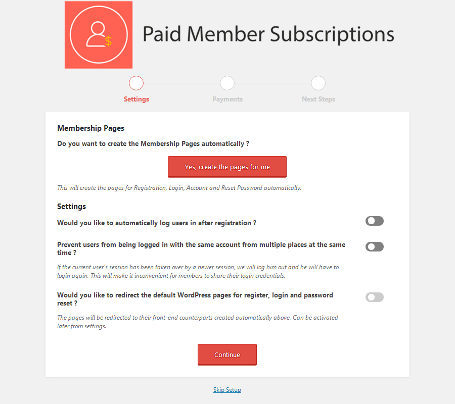 Paid Member Subscriptions - Setup Wizard