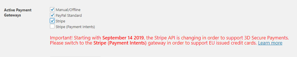 Stripe SCA warning in Paid Member Subscriptions