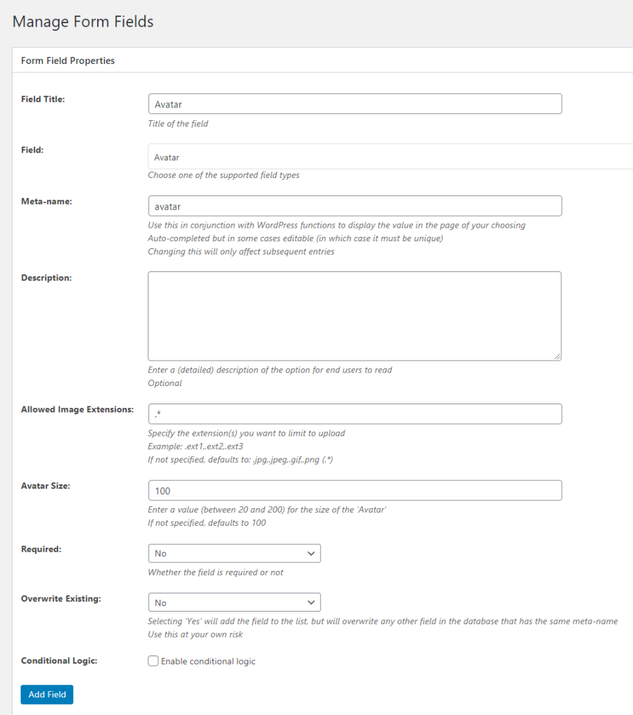 Add new avatar field to the front-end registration form