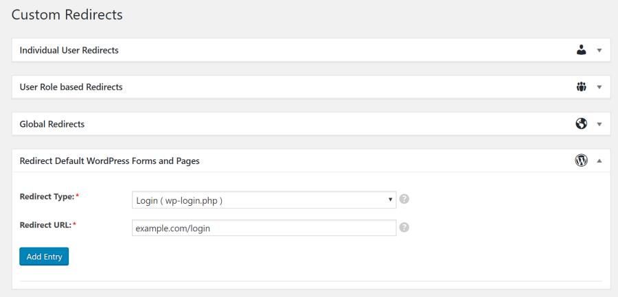 Custom redirects settings screen